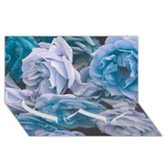 Great Garden Roses Blue Twin Heart Bottom 3d Greeting Card (8x4)