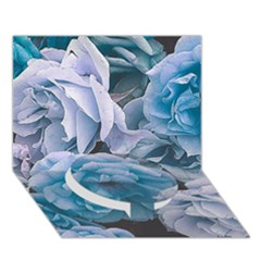 Great Garden Roses Blue Circle Bottom 3d Greeting Card (7x5)