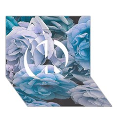 Great Garden Roses Blue Peace Sign 3d Greeting Card (7x5)