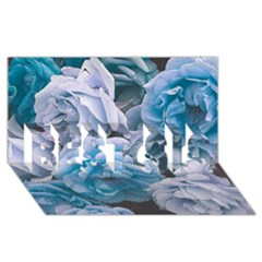 Great Garden Roses Blue BEST SIS 3D Greeting Card (8x4)