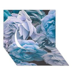 Great Garden Roses Blue Circle 3d Greeting Card (7x5)