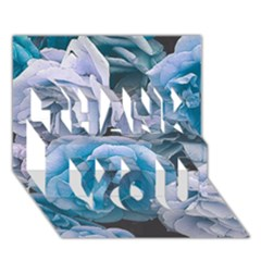 Great Garden Roses Blue THANK YOU 3D Greeting Card (7x5)