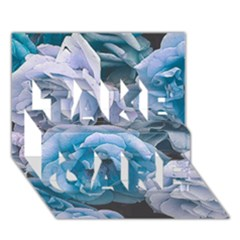 Great Garden Roses Blue TAKE CARE 3D Greeting Card (7x5)