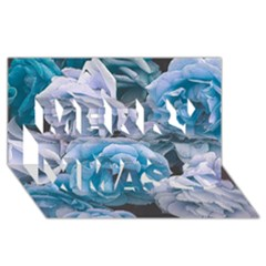 Great Garden Roses Blue Merry Xmas 3D Greeting Card (8x4)