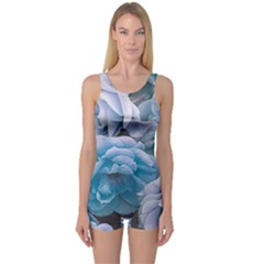 Great Garden Roses Blue Women s Boyleg One Piece Swimsuits