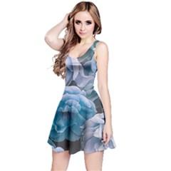 Great Garden Roses Blue Reversible Sleeveless Dresses