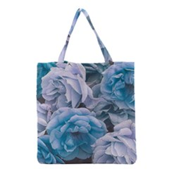 Great Garden Roses Blue Grocery Tote Bags