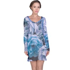 Great Garden Roses Blue Long Sleeve Nightdresses