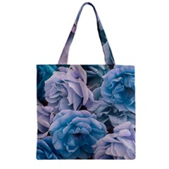 Great Garden Roses Blue Zipper Grocery Tote Bags