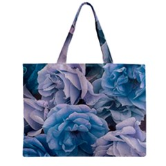 Great Garden Roses Blue Zipper Tiny Tote Bags