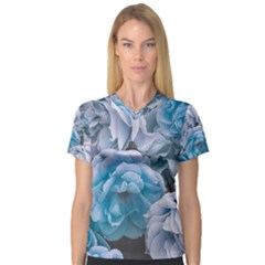 Great Garden Roses Blue Women s V-Neck Sport Mesh Tee