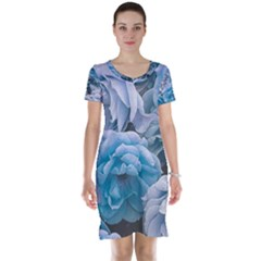 Great Garden Roses Blue Short Sleeve Nightdresses