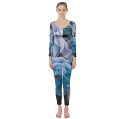 Great Garden Roses Blue Long Sleeve Catsuit