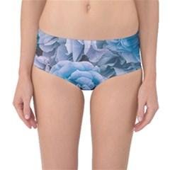 Great Garden Roses Blue Mid-Waist Bikini Bottoms