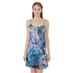 Great Garden Roses Blue Satin Night Slip