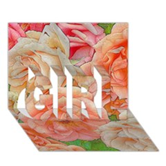 Great Garden Roses, Orange GIRL 3D Greeting Card (7x5)