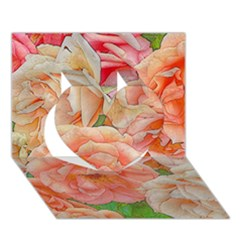Great Garden Roses, Orange Heart 3d Greeting Card (7x5)