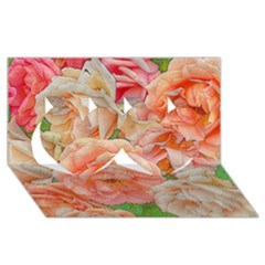 Great Garden Roses, Orange Twin Hearts 3d Greeting Card (8x4)