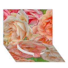 Great Garden Roses, Orange Circle Bottom 3D Greeting Card (7x5)