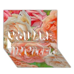 Great Garden Roses, Orange YOU ARE INVITED 3D Greeting Card (7x5)