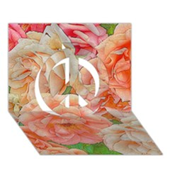 Great Garden Roses, Orange Peace Sign 3d Greeting Card (7x5)