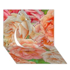 Great Garden Roses, Orange Circle 3d Greeting Card (7x5)