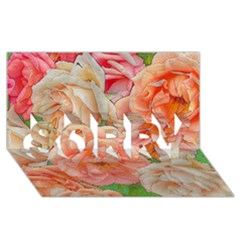 Great Garden Roses, Orange SORRY 3D Greeting Card (8x4)
