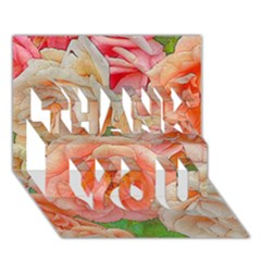 Great Garden Roses, Orange Thank You 3d Greeting Card (7x5)