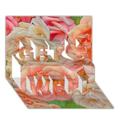 Great Garden Roses, Orange Get Well 3D Greeting Card (7x5)