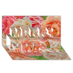 Great Garden Roses, Orange Merry Xmas 3D Greeting Card (8x4)