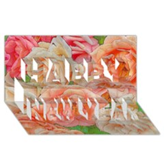 Great Garden Roses, Orange Happy New Year 3d Greeting Card (8x4)