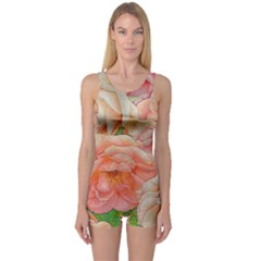 Great Garden Roses, Orange Women s Boyleg One Piece Swimsuits