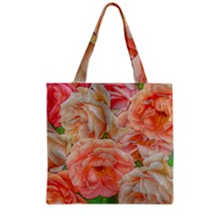 Great Garden Roses, Orange Grocery Tote Bags