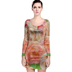 Great Garden Roses, Orange Long Sleeve Bodycon Dresses