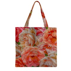 Great Garden Roses, Orange Zipper Grocery Tote Bags