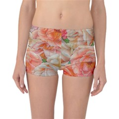 Great Garden Roses, Orange Reversible Boyleg Bikini Bottoms