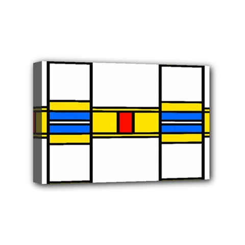 Colorful Squares And Rectangles Pattern Mini Canvas 6  X 4  (stretched)