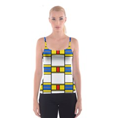 Colorful Squares And Rectangles Pattern Spaghetti Strap Top