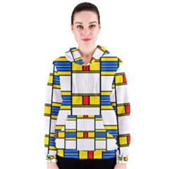 Colorful squares and rectangles pattern Women s Zipper Hoodie