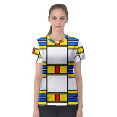 Colorful squares and rectangles pattern Women s Sport Mesh Tee