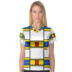 Colorful squares and rectangles pattern Women s V-Neck Sport Mesh Tee