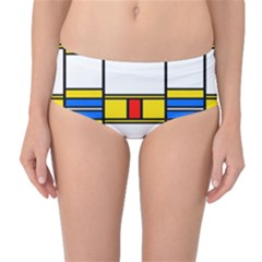Colorful squares and rectangles pattern Mid-Waist Bikini Bottoms
