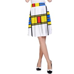 Colorful squares and rectangles pattern A-line Skirt