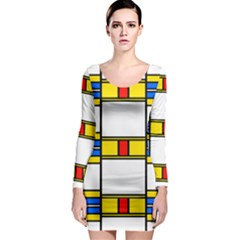 Colorful Squares And Rectangles Pattern Long Sleeve Bodycon Dress