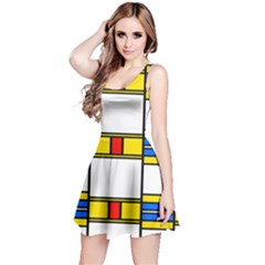 Colorful squares and rectangles pattern Sleeveless Dress
