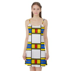 Colorful squares and rectangles pattern Satin Night Slip