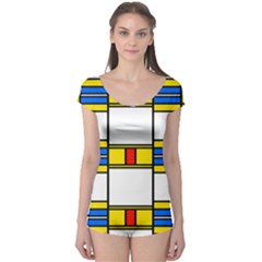 Colorful squares and rectangles pattern Short Sleeve Leotard