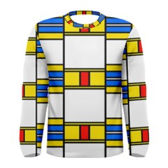 Colorful Squares And Rectangles Pattern Men Long Sleeve T Shirt