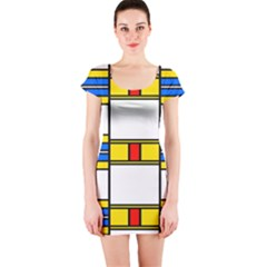 Colorful squares and rectangles pattern Short sleeve Bodycon dress