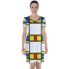Colorful Squares And Rectangles Pattern Short Sleeve Nightdress